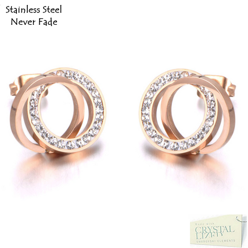 Stainless Steel 316L Hypoallergenic Rose Gold Round Stud Earrings with Swarovski Crystals