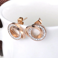 Load image into Gallery viewer, Stainless Steel 316L Hypoallergenic Rose Gold Round Stud Earrings with Swarovski Crystals