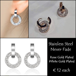 Stainless Steel 316L Hypoallergenic Rose Gold Silver Earrings with Swarovski Crystals
