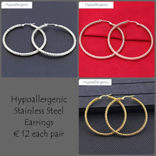Load image into Gallery viewer, Stainless Steel Hypoallergenic Hoop Earrings Yellow , Rose Gold Silver