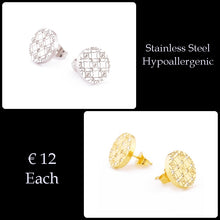 Load image into Gallery viewer, Stainless Steel Stylish Hypoallergenic Stud Earrings Silver Yellow Gold