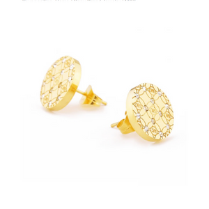 Stainless Steel Stylish Hypoallergenic Stud Earrings Silver Yellow Gold