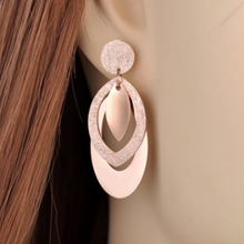 Load image into Gallery viewer, Rose Gold Plated on Stainless Steel Long Earrings Hypoallergenic