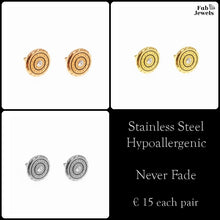 Load image into Gallery viewer, Stainless Steel Stylish Hypoallergenic Stud Earrings Silver Gold Rose Gold