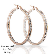 Load image into Gallery viewer, Stainless Steel 316L Hypoallergenic Hoop Rose Gold Earrings with Swarovski Crystals