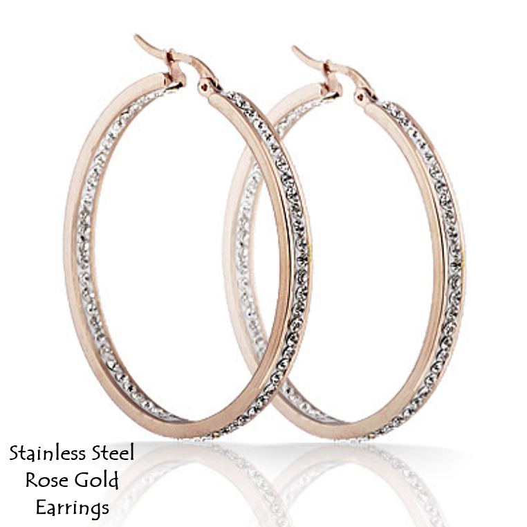 Stainless Steel 316L Hypoallergenic Hoop Rose Gold Earrings with Swarovski Crystals