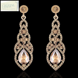 Gold Plated Silver Black Rose Gold Long Drop Earrings with Swarovski Crystals