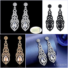 Load image into Gallery viewer, Gold Plated Silver Black Rose Gold Long Drop Earrings with Swarovski Crystals