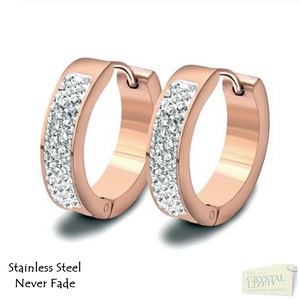 Stainless Steel 316L Hypoallergenic Rose Gold Silver Small Loop Earrings with Swarovski Crystals