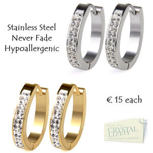 Stainless Steel 316L Hypoallergenic Rose Gold Silver Oval Earrings with Swarovski Crystals