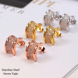 S/Steel Rose Gold / White Gold / Yellow Gold Plated Earrings with Swarovski Crystals