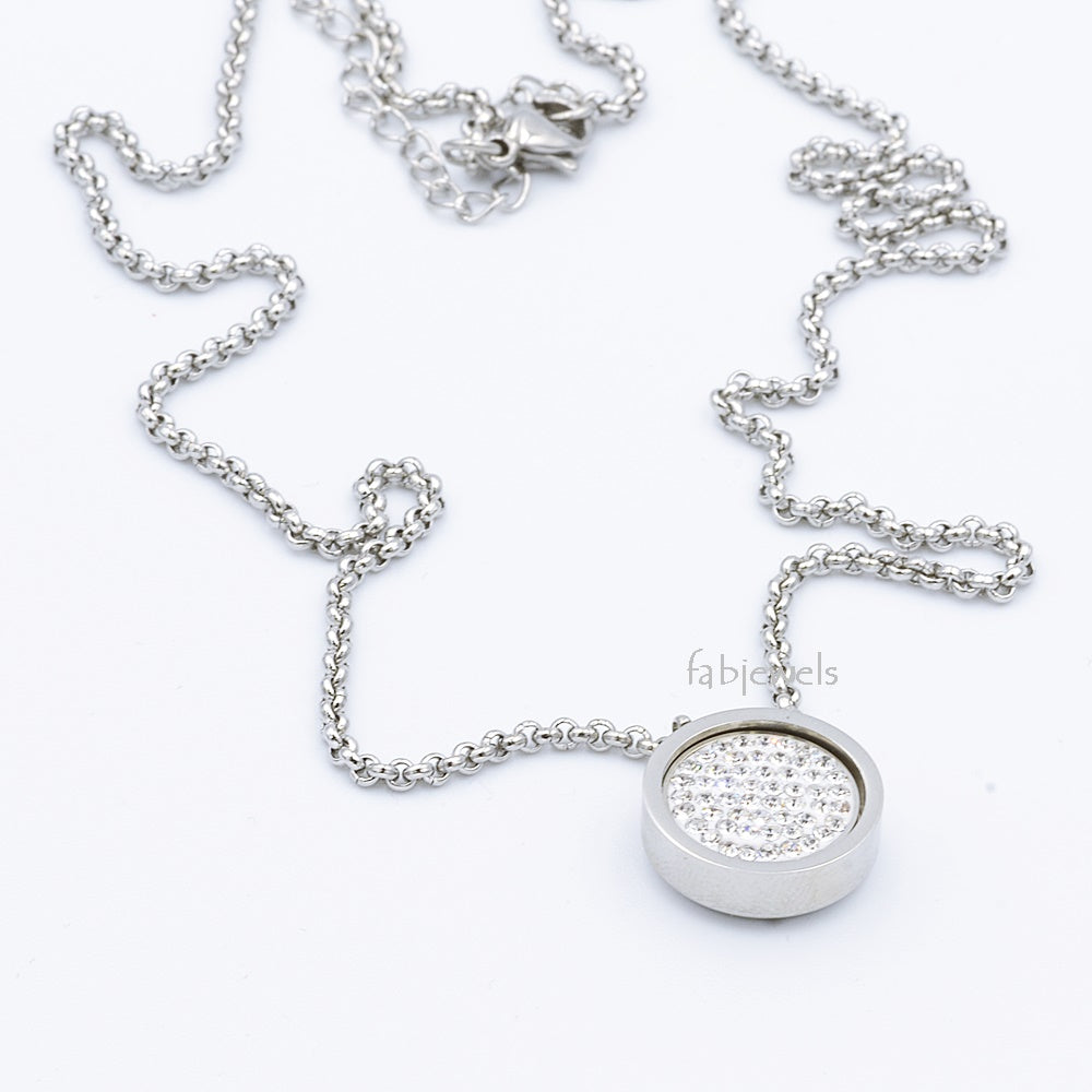 Stainless Steel 316L Necklace with 1 Crystal Interchangeable Magnetic Insert