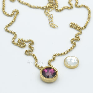 Stainless Steel Yellow Gold Plated Necklace with 2 Crystals Interchangeable Magnetic Inserts