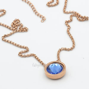 Stainless Steel Rose Gold Plated Necklace with 1 Crystal Interchangeable Magnetic Insert