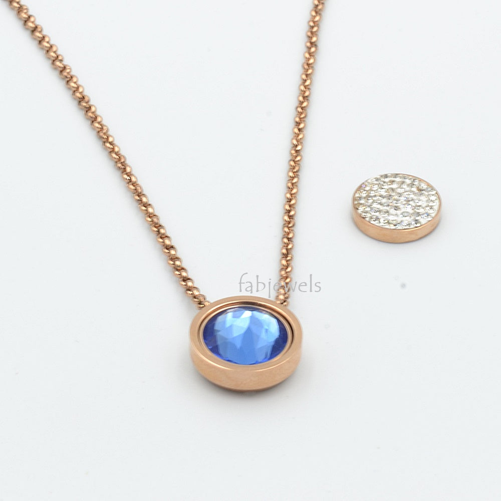 Stainless Steel Rose Gold Plated Necklace with 2 Crystals Interchangeable Magnetic Inserts