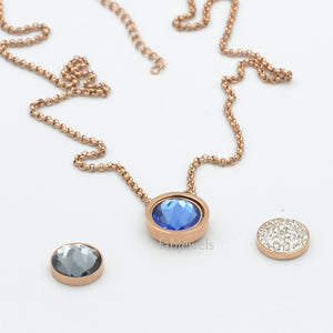 Stainless Steel Rose Gold Plated Necklace with 3 Crystals Interchangeable Magnetic Inserts