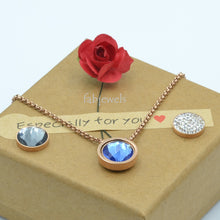 Load image into Gallery viewer, Stainless Steel Rose Gold Plated Necklace with 3 Crystals Interchangeable Magnetic Inserts