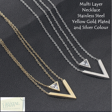 Load image into Gallery viewer, Stylish Stainless Steel Yellow Gold Plated Multi Layer Necklace with Swarovski Crystals