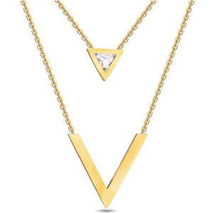 Stylish Stainless Steel Yellow Gold Plated Multi Layer Necklace with Swarovski Crystals