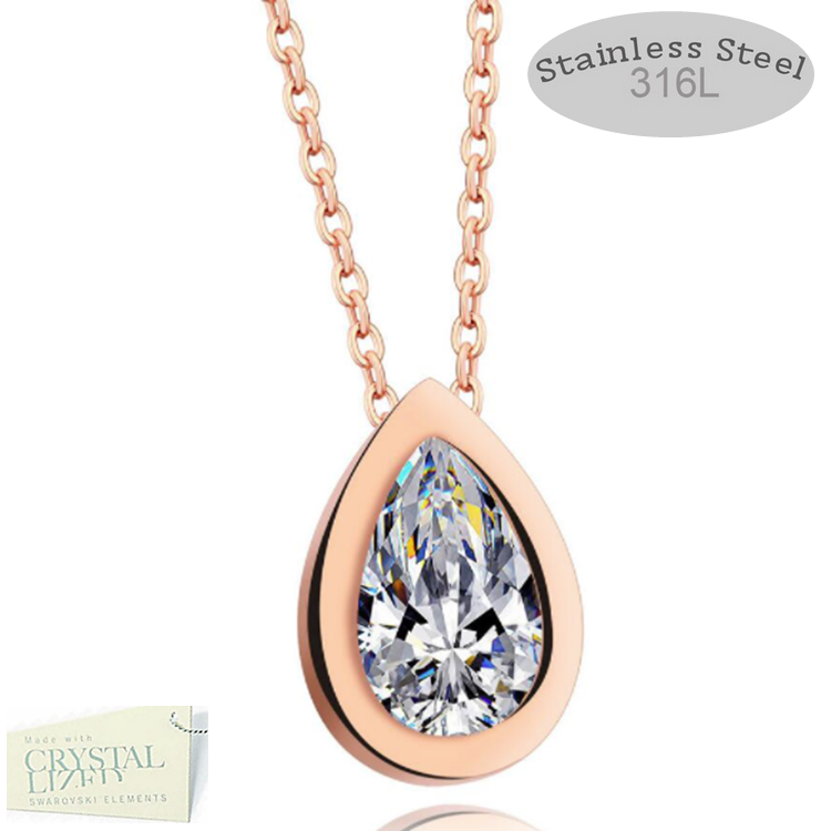 Rose Gold Plated Necklace with Water Drop Pendant Swarovski Crystal