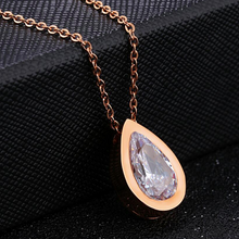 Load image into Gallery viewer, Rose Gold Plated Necklace with Water Drop Pendant Swarovski Crystal