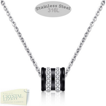 Load image into Gallery viewer, Stainless Steel Necklace with Black Ceramic and Swarovski Crystals Pendant