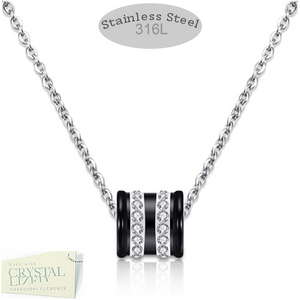 Stainless Steel Necklace with Black Ceramic and Swarovski Crystals Pendant