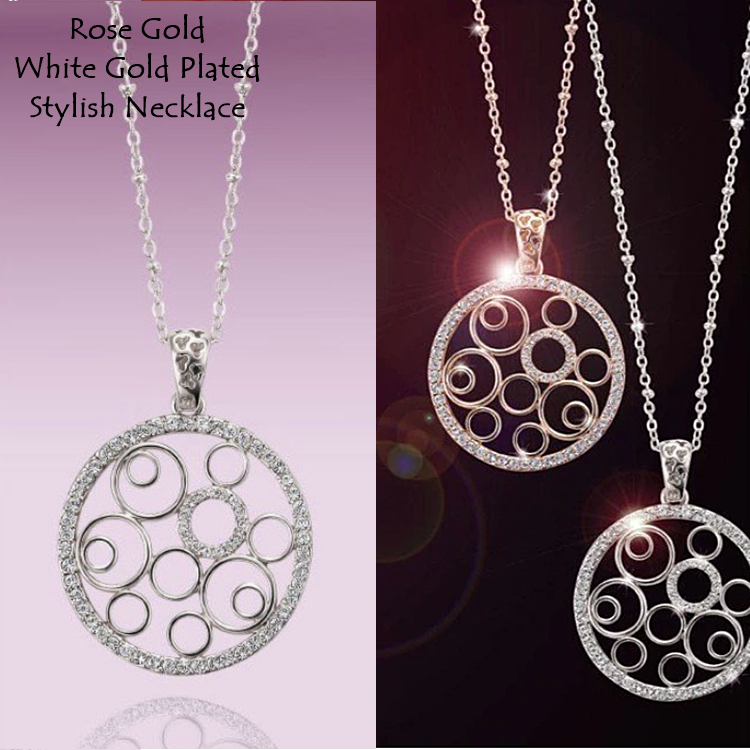Stylish Rose Gold Plated White Gold Plated Pendant Stainless Steel Necklace with Swarovski Crystals
