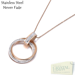 Stainless Steel Rose Gold Plated Silver Necklace with Circle Swarovski Crystals Pendant