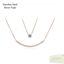 Load image into Gallery viewer, Stainless Steel 316L Rose Gold Plated Multi Layer Necklace with Swarovski Crystals