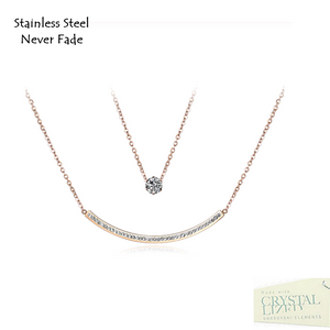 Stainless Steel 316L Rose Gold Plated Multi Layer Necklace with Swarovski Crystals