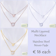 Load image into Gallery viewer, Stylish Stainless Steel Multi Layer Necklace with Swarovski Crystals