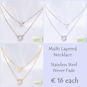 Stylish Stainless Steel Multi Layer Necklace with Swarovski Crystals