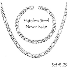 Load image into Gallery viewer, Stainless Steel 316L Gold Plated Figaro Chain Set Necklace Bracelet