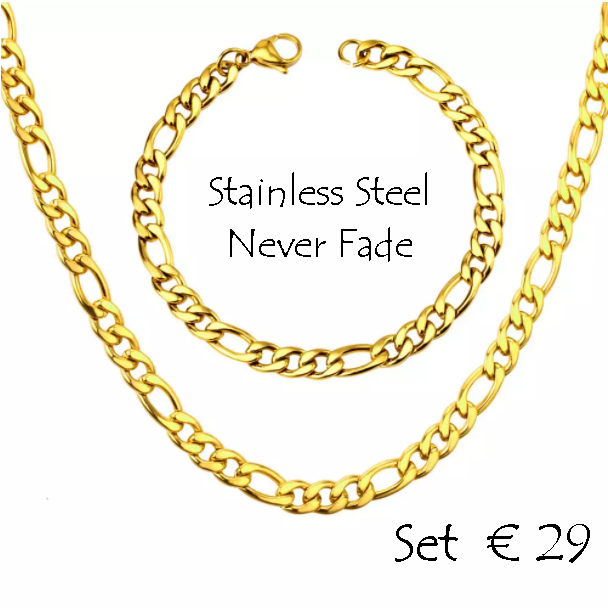 Stainless Steel 316L Gold Plated Figaro Chain Set Necklace Bracelet