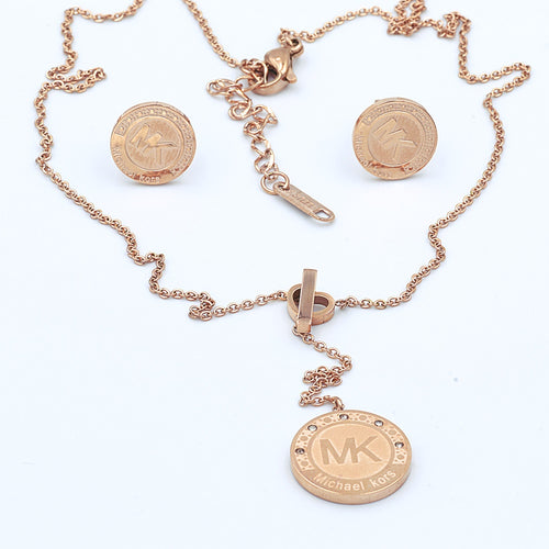 Stainless Steel Stylish Rose Gold Plated Set Drop Necklace Earrings