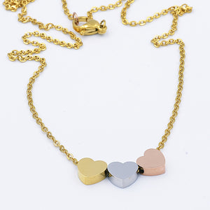 Stainless Steel 3 Love Heart Necklace Yellow Gold Rose Gold Plated Silver