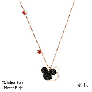 Stainless Steel Titanium Rose Gold Mickey Minnie Mouse Pendant Necklace