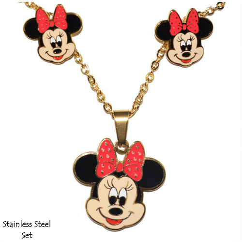 Stainless Steel Titanium Gold Minnie Mouse Set Earrings Pendant Necklace