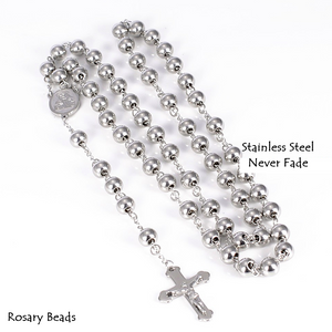 Stainless Steel Rosary Beads Necklace Yellow Gold Plated Silver