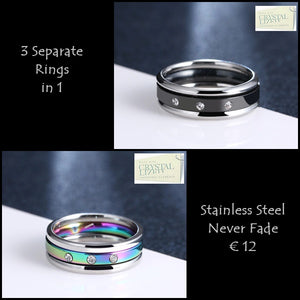 Stainless Steel 316L 3 in 1 Ring with Swarovski Crystals