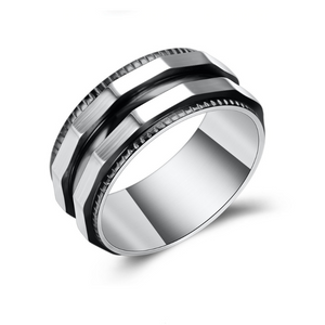 Stainless Steel Solid Ring with Yellow or Black Trim