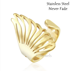 Stainless Steel Angel Wing Ring In Yellow Gold Plated and Silver