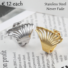 Load image into Gallery viewer, Stainless Steel Angel Wing Ring In Yellow Gold Plated and Silver
