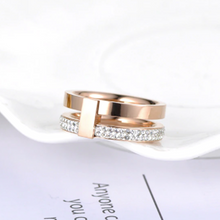 Load image into Gallery viewer, Stainless Steel Rose Gold Plated 2 Layer Ring with Swarovski Crystals