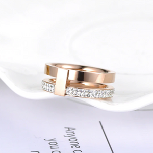 Stainless Steel Rose Gold Plated 2 Layer Ring with Swarovski Crystals