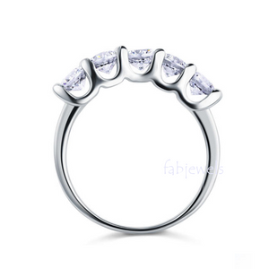 Highest Quality Titanium Stainless Steel 316L Half Eternity Ring with Swarovski Crystals