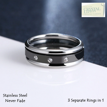 Load image into Gallery viewer, Stainless Steel 316L 3 in 1 Ring with Swarovski Crystals