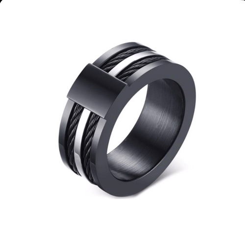 Gorgeous Stainless Steel 316L Black and Silver Men's Ring