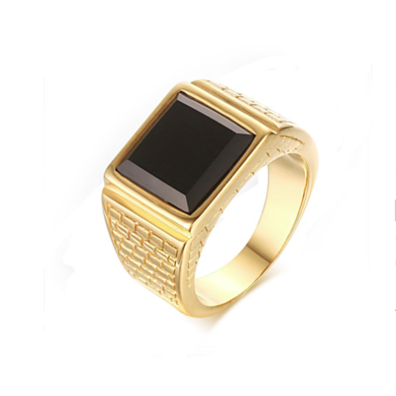 18ct Yellow Gold Plated Stainless Steel 316L High Quality Ring with Black